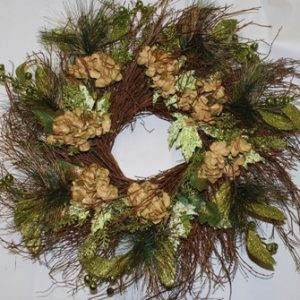 Wreath Gold Sparkled Hydrangea and Pine