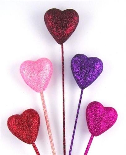 Glitter Heart Picks