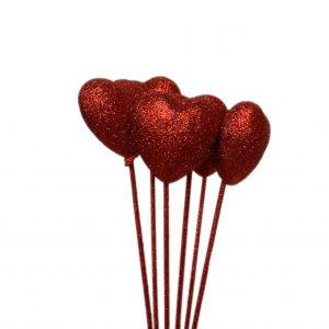 Valentine's Day Glitter Heart Picks | Younger and Son | Floral Wholesaler and Supplies